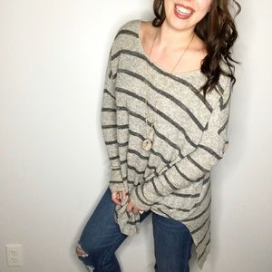 Free People Grey Striped Oversized Knit Tunic